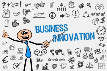 Business Innovation / Mann mit Symbole