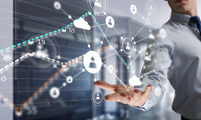 Social wireless connection concept. Mixed media . Mixed media