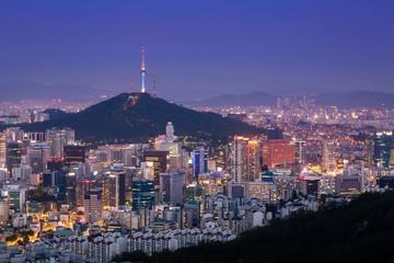 Seoul City Skyline and N Seoul Tower, South Korea.