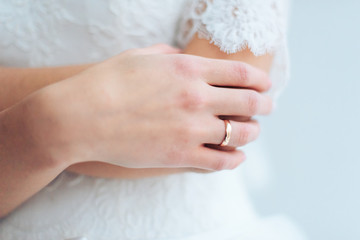 bride's hands with manicure
