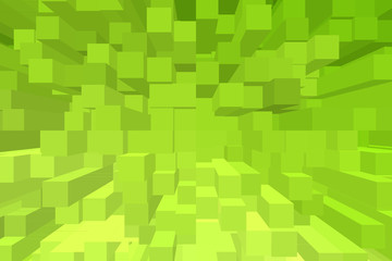 Green cube geometric background