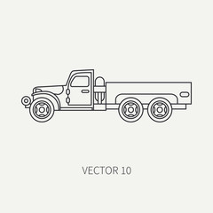 Line flat plain vector icon service staff open body army truck. Military vehicle. Cartoon vintage style. Cargo transportation. Tractor unit. Tow auto. Simple. Illustration and element for your design.