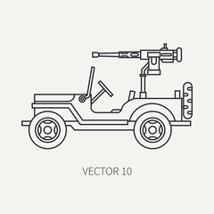Line flat plain vector icon armed open body army pickup. Military vehicle. Cartoon vintage style. Machine gun. Mobile weapon emplacement. Tractor unit. Tow. Illustration and element for your design.