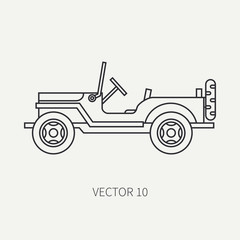 Line flat plain vector icon service staff open body army car. Military vehicle. Cartoon vintage style. Cargo transportation. Tractor unit. Tow auto. Simple. Illustration and element for your design.