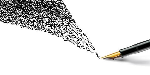 Chiffres - stylo plume - mathématiques - solution - calcul - informatique