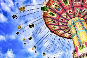 Acrylic Prints Amusement Park Amusement park swing ride