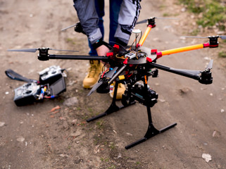 Preparing drone for take of. Drone Photography.
