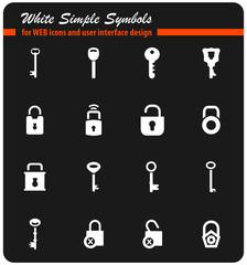 lock and key icon set