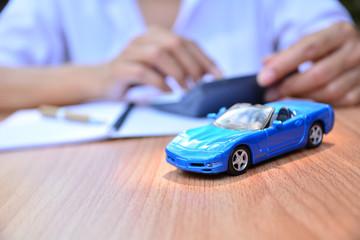 Business concept, car insurance, sell or buy car, car financing, car key