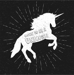 Foto op Canvas Bestsellers Kids Born to be a unicorn. Vector illustration, eps10. Abstract unicorn silhouette isolated with text.