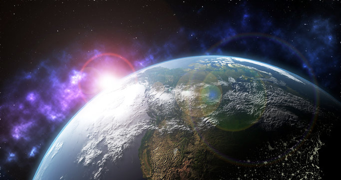 3D Earth globe in space with stars, shinny sun, dark universe and lens flare - United-States - globalization concept