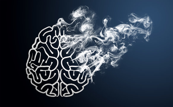 Brain transforming into smoke, symbolizing loss of intelligence due to Artificial Intelligence (AI) - for Business or Technology articles
