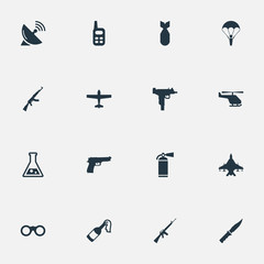 Set Of 16 Simple Army Icons. Can Be Found Such Elements As Extinguisher, Chemistry, Air Bomber And Other.