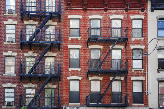Manhattan, old building with fire escapes