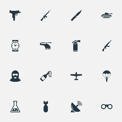 Set Of 16 Simple War Icons. Can Be Found Such Elements As Heavy Weapon, Field Glasses, Molotov And Other.