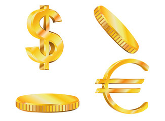 Euro and dollar signs of gold coins