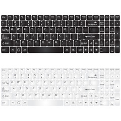 Set black and white computer keyboard isolated on a white background. Vector illustration.