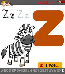 letter z with cartoon zebra