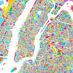 New York City Manhattan Colorful Map