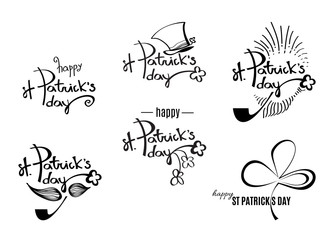 St. Patrick's day black retro logos with lettering isolated on white background for your holiday design. Vector illustration