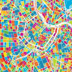 Vienna, Austria, Colorful Vector Map
