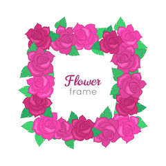 Flower frame. Squar Wreath of Different Blossoms