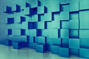 3D rendering abstract cubes wall