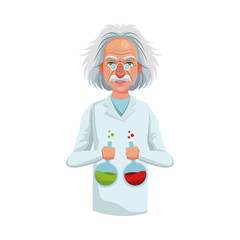 scientist man cartoon icon over white background. colorful design. vector illustration