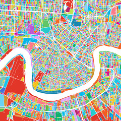 New Orleans Colorful Vector Map