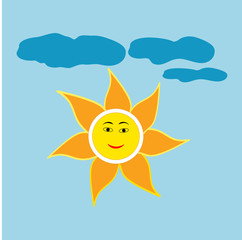 The sun and cloud sign on blue background