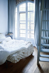 Bedroom interior with french windows