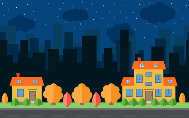 Vector night city with two cartoon houses and buildings. City space with road on flat style background concept. Summer urban landscape. Street view with cityscape on a background