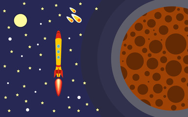The rocket in space near the planet. Space trip. Vector illustration of rocket flight.