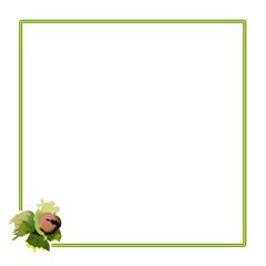 квадратная рамка с плодом орешника, векторная иллюстрация
