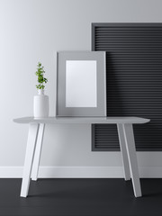 Blank frame poster mockup on the table. 3d rendering
