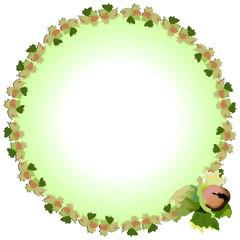 круглая рамка с плодом орешника, векторная иллюстрация