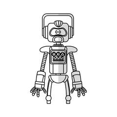robot cartoon icon over white background. vector illustration