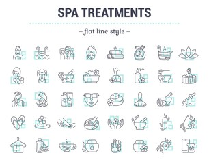 Vector graphic set.Icons in flat, contour,thin and linear design.Spa treatment.Alternative medicine.Simple isolated icon on white background.Concept illustration for Web site, app.Sign,symbol,element.