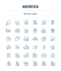 Vector graphic set.Icons in flat, contour,thin, minimal and linear design. Psychological disease.Vomiting, weight loss. Symptoms, disorder. Concept simple isolated icons.Sign,symbol,element.