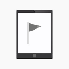 Isolated tablet pc with a golf flag