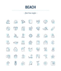 Vector graphic set. Icons in flat, contour,thin, minimal and linear design.Beach season. Set of things for a beach theme.Simple isolated icons.Concept of web site and app.Sign,symbol, elements.