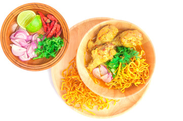 Khao Soi, Northern Thai curry noodle isolated over white background