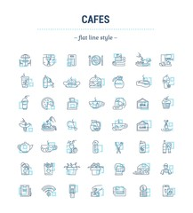 Vector graphic set. Icons in flat, contour, thin, minimal and linear design.Cafe.Food silhouettes.Fast food. Pizzeria. Catering.Simple isolated icons.Concept for web site, app.Sign and symbol.