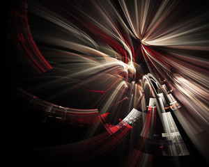 Abstract background element. Fractal graphics. Three-dimensional composition of traces and motion blur. Red and black colors.