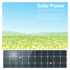 Energy concept background with solar panel , vector , illustration