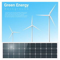 Green energy background with solar panel and wind turbine , vector , illustration