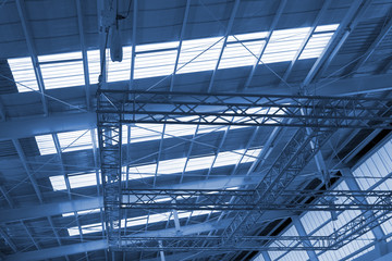 Industry ceiling in cyanotype picture style