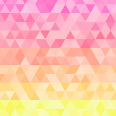 Background of geometric shapes. Colorful mosaic pattern. Vector illustration. Sunset colors.