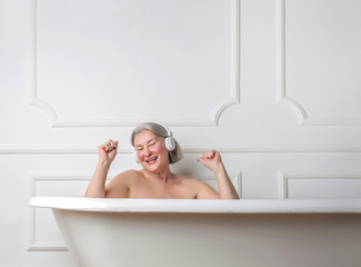 Grandma dancing in the bathtub