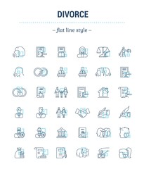 Vector set of icons in linear design. Divorce and the legal process. Elements of property division, child custody, alimony, infidelity, lawsuits and divorce. template for website, advertising.
